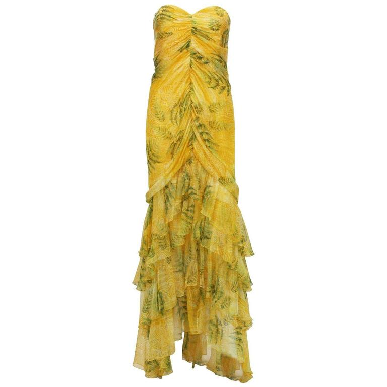 New Oscar De La Renta Silk Bustier Strapless Sweetheart Ruffle Long Dress Gown