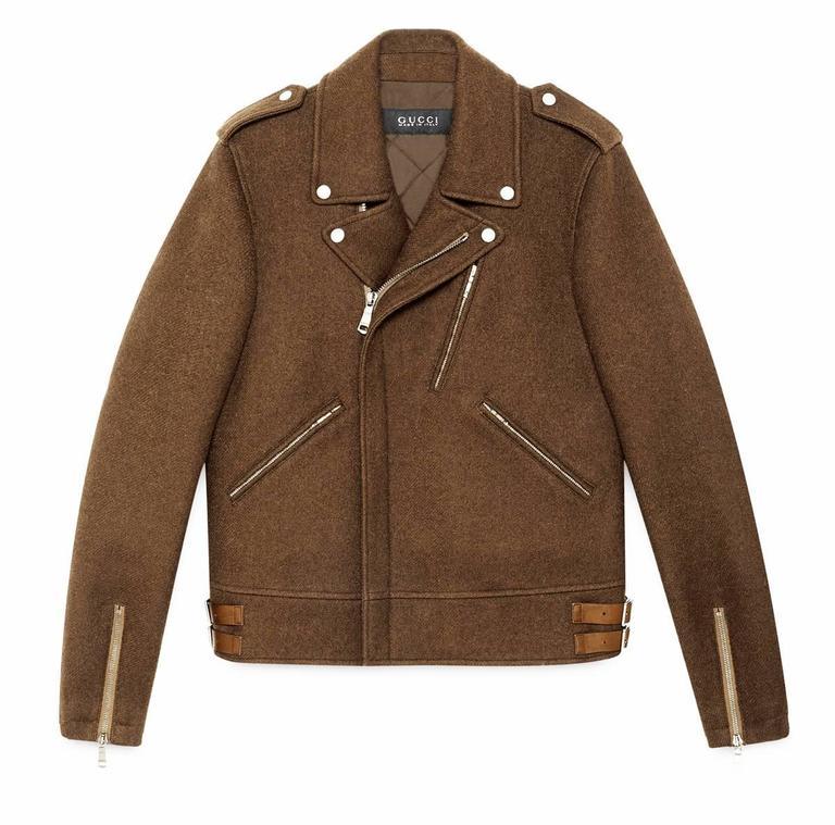 NEW Gucci Men s Wool Biker Jacket in Maple Brown It. 54 - US 44 For ... 8ea4fdaa6a26
