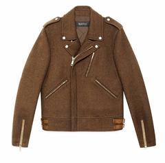 NEW Gucci Men's Wool Biker Jacket in Maple Brown It. 54 - US 44