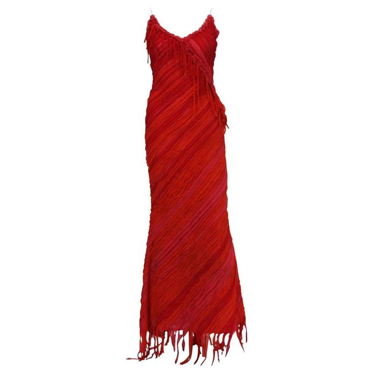 Naeem Khan Red Silk Coral Embellished Fringe Long Dress 6