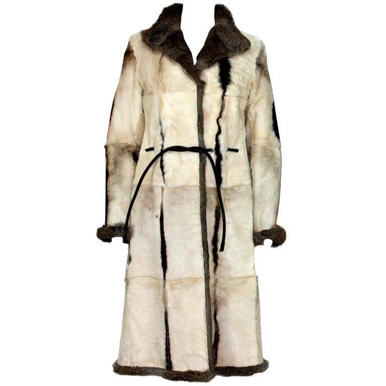 New Tom Ford for Gucci 1999 Collection Reversible Beige Fur Coat It.44