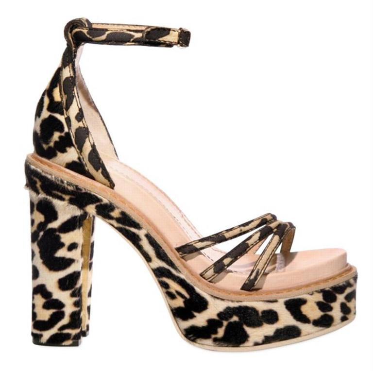 New GIVENCHY Pony Hair Leopard Print 2x Platform Shoes Sandals It 38.5 - US 8