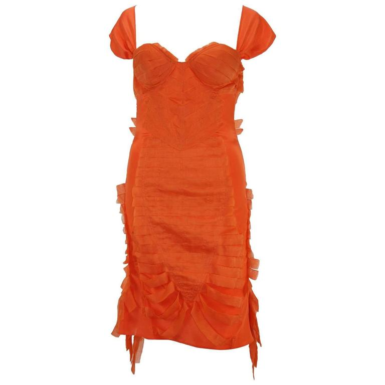 Tom Ford for Gucci S/S 2004 Collection Silk Orange Cocktail Stretch Dress It 42