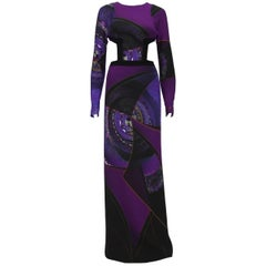 New ETRO AD CAMPAIGN RUNWAY Purple Gown CUTOUT Open Back It 40 - US 4