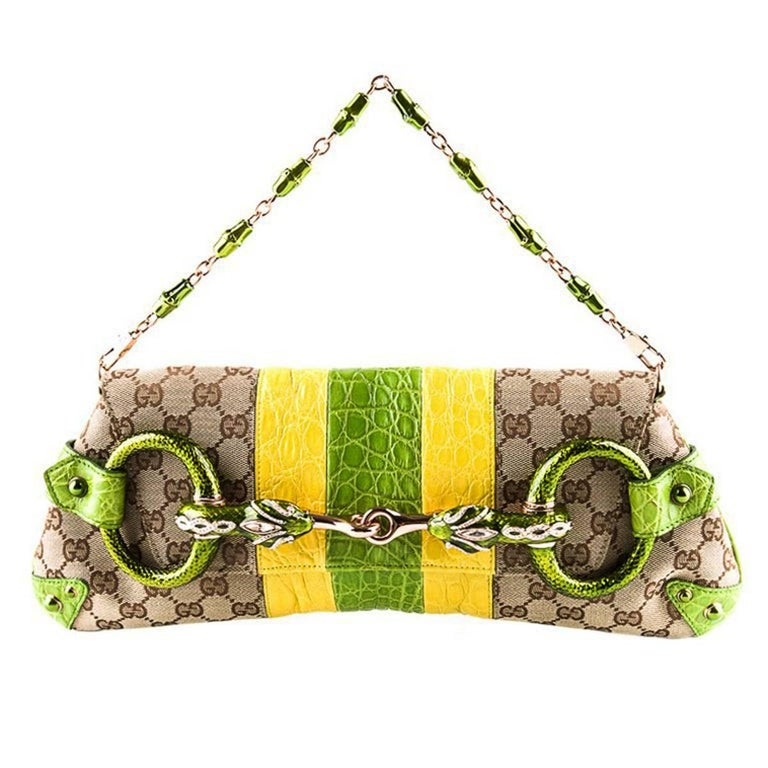 c4cbd4feab22 New Tom Ford for GUCCI 2004 Crocodile-Trimmed Horsebit Jeweled Serpent  Clutch For Sale