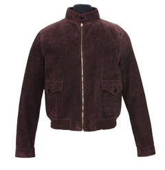 New Gucci Men's Goat Suede Brown / Plum Bomber Jacket 54, 58