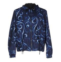 New Versace Men's Barocco Windbreaker Jacket Blue Black It. 52 - US 42