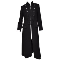 Tom Ford for Yves Saint Laurent FW 2001 Black Wool Long Military Style Coat 38 6