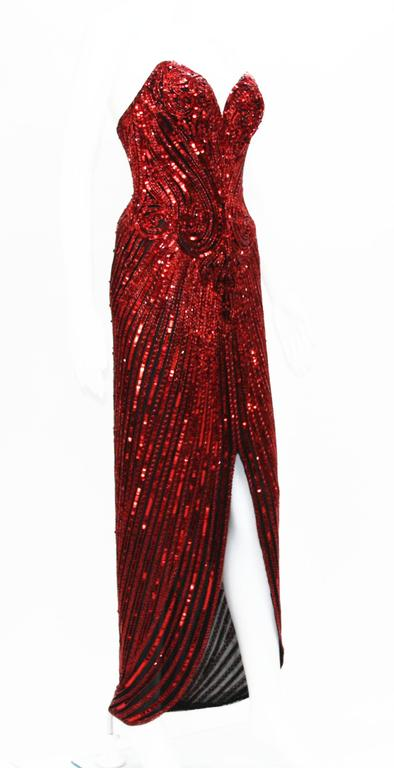 Bob Mackie 1982 Red Fully Beaded Dress Gown For Sale At