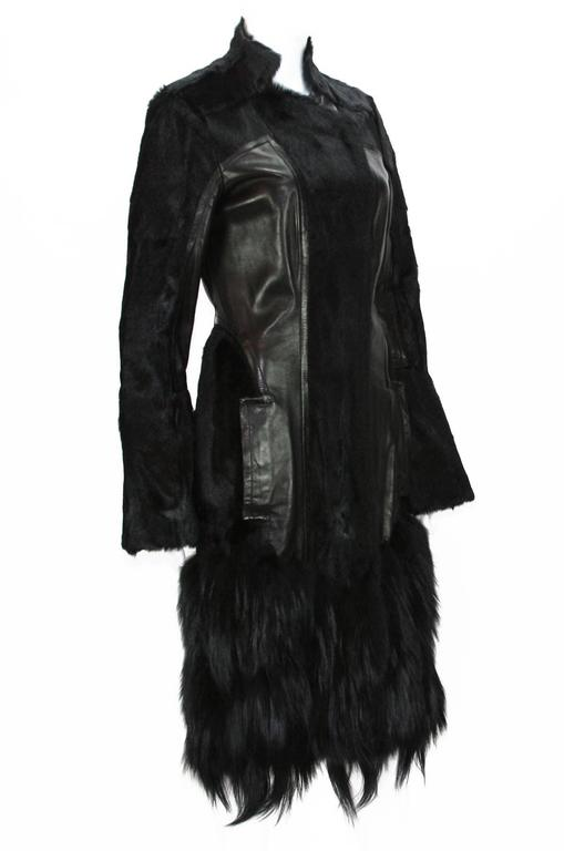 NEW TOM FORD FOR GUCCI FUR LEATHER COAT Rare and Highly Collectible F/W 2004 Collection Goat, Fox, Leather Zip and Hooks Closure Two Side Pockets Silk Lining Designer size 44 (run small) Measurements: Length - 39 inches + Fur, Sleeve - 26 inches,