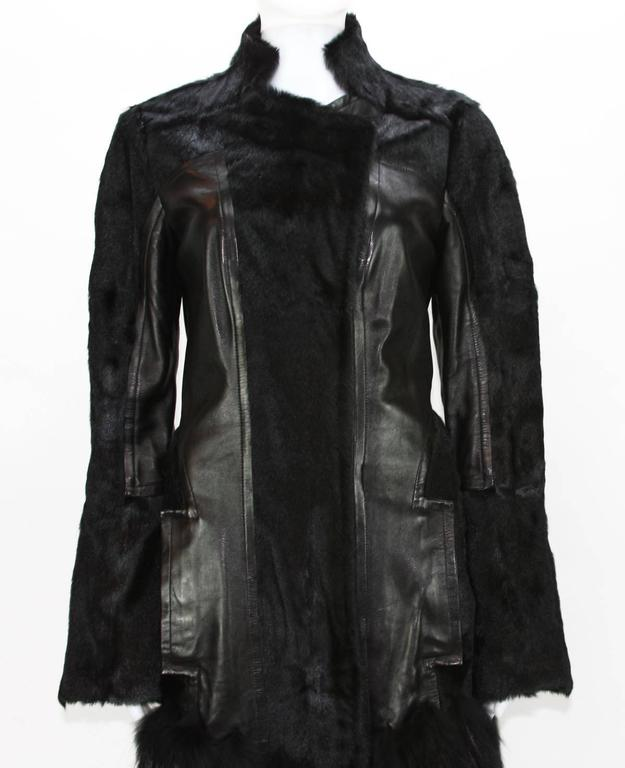 Women's RARE TOM FORD for GUCCI F/W 2004 FOX GOAT LEATHER BLACK COAT For Sale