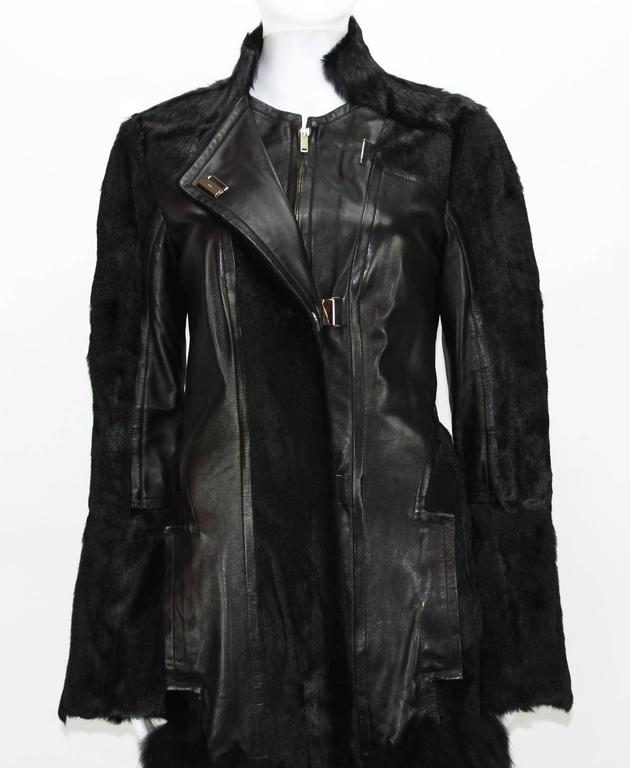RARE TOM FORD for GUCCI F/W 2004 FOX GOAT LEATHER BLACK COAT For Sale 1