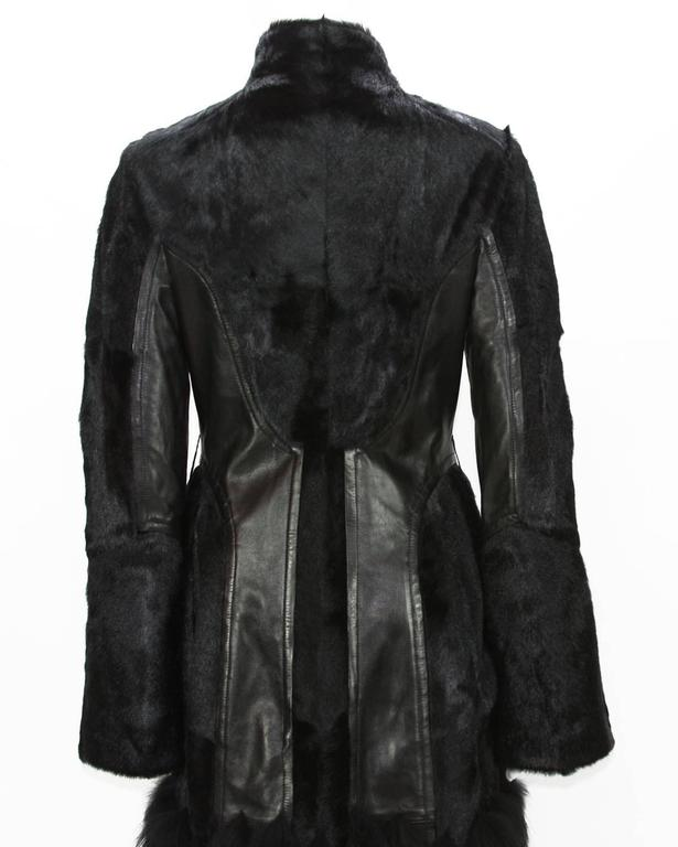 RARE TOM FORD for GUCCI F/W 2004 FOX GOAT LEATHER BLACK COAT For Sale 2