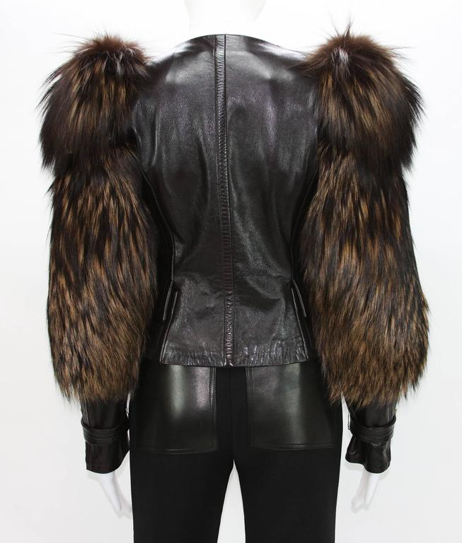 Tom Ford for Gucci Fall 2003 Fox Fur Leather Brown Jacket 38 2