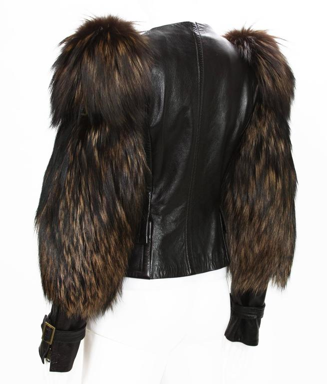 Tom Ford for Gucci Fall 2003 Fox Fur Leather Brown Jacket 38 3