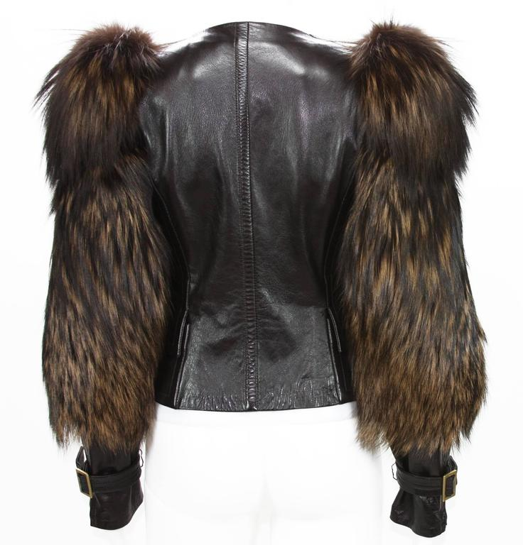 Tom Ford for Gucci Fall 2003 Fox Fur Leather Brown Jacket 38 4