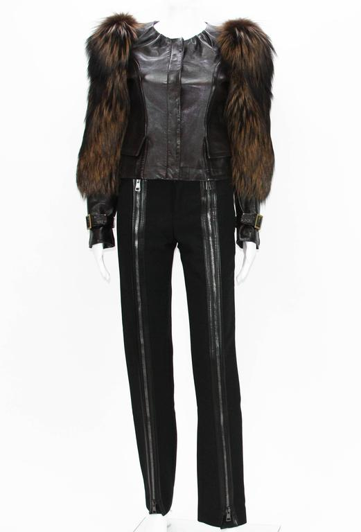 Tom Ford for Gucci Fall 2003 Fox Fur Leather Brown Jacket 38 5