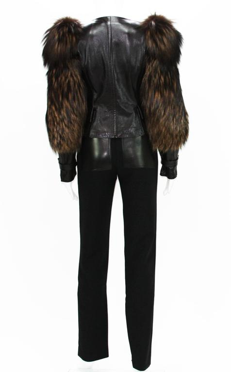 Tom Ford for Gucci Fall 2003 Fox Fur Leather Brown Jacket 38 6