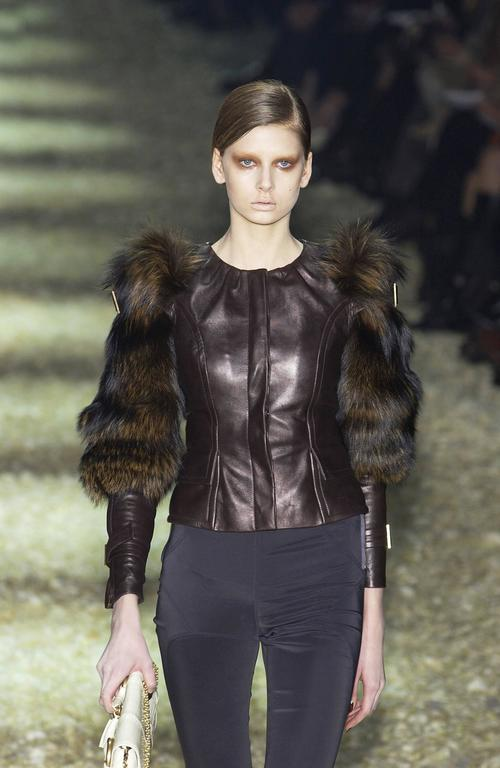 Tom Ford for Gucci Fall 2003 Fox Fur Leather Brown Jacket 38 7