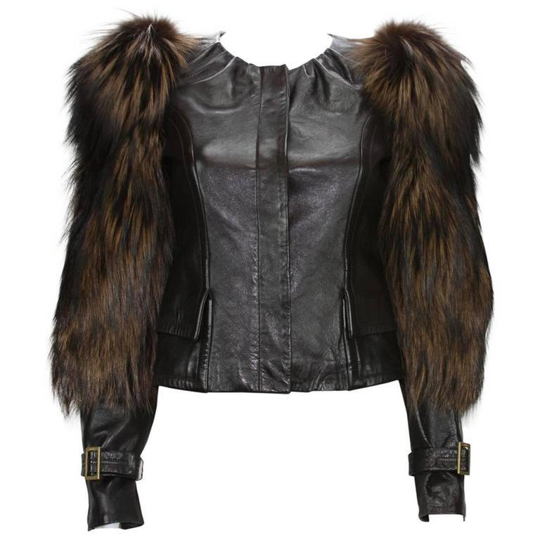 Tom Ford for Gucci Fall 2003 Fox Fur Leather Brown Jacket 38 1