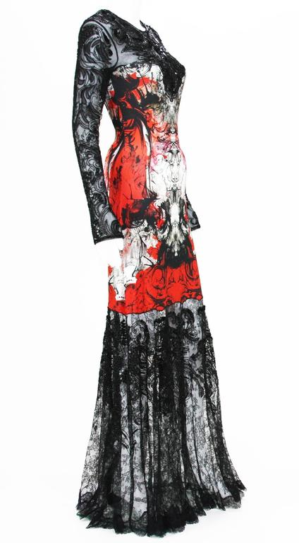 New ROBERTO CAVALLI Lace Embellished Long Dress Gown Italian size 42 - US 6 Colors - Black, Red, White Lace Embellished with Beads, Sequins, Leather Printed Stretch Fabric - 92% Rayon, 8% Elastane Back Zip Closure Made in Italy New without tag.