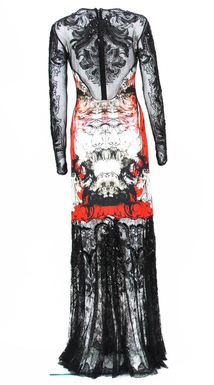 Black New Roberto Cavalli Lace Fully Beaded Stretch Long Dress Gown IT. 42 For Sale