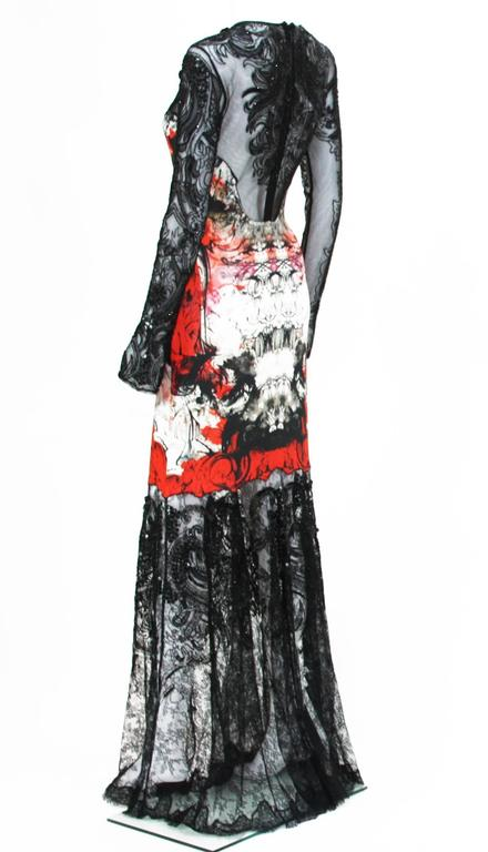 New Roberto Cavalli Lace Fully Beaded Stretch Long Dress Gown IT. 42 In Excellent Condition For Sale In Montgomery, TX