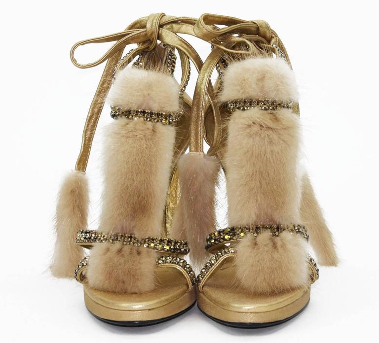 New Tom Ford for Gucci Swarovski Crystal Embellished Platform Sandals F/W 2004 Collection  Designer size 7.5 B  Color - Gold Swarovski Crystal Straps are finished Mink Fur and Brilliant Snakeskin Heel.  Heel - 4.5 inches Removable Straps Made in
