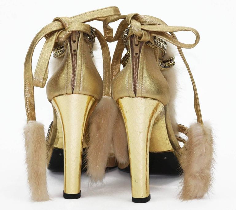 Brown New Tom Ford for Gucci Swarovski Crystals Snakeskin Mink Fur Sandals Gold 7.5  For Sale