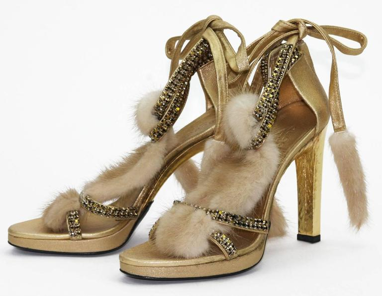 New Tom Ford for Gucci Swarovski Crystals Snakeskin Mink Fur Sandals Gold 7.5  In New Condition For Sale In Montgomery, TX