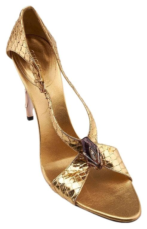Brown New Tom Ford for Gucci S/S 2004 Gold Python Jeweled Bamboo Heel Shoes 8.5 and 11 For Sale