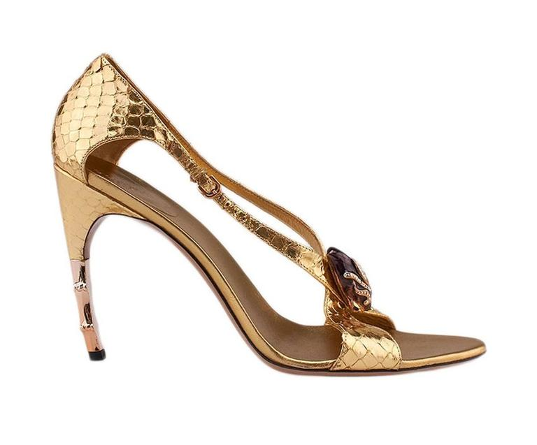 New Tom Ford for Gucci S/S 2004 Gold Python Jeweled Bamboo Heel Shoes 8.5 and 11 In New Condition For Sale In Montgomery, TX