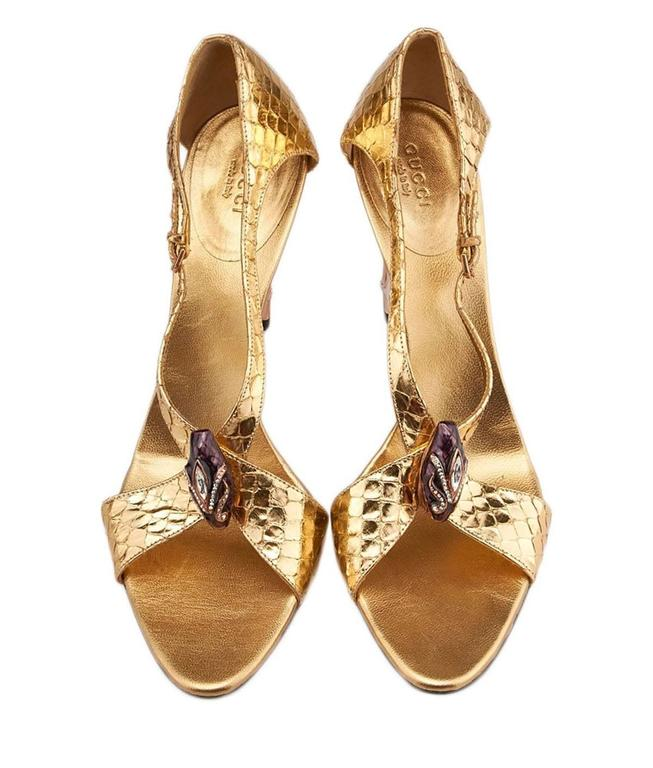 Women's New Tom Ford for Gucci S/S 2004 Gold Python Jeweled Bamboo Heel Shoes 8.5 and 11 For Sale