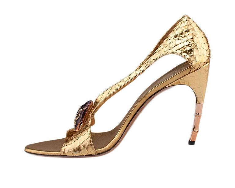 New Tom Ford for Gucci S/S 2004 Gold Python Jeweled Bamboo Heel Shoes 8.5 and 11 For Sale 1