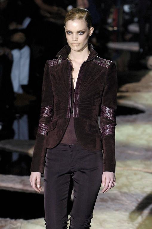TOM FORD for GUCCI F/W 2004 PYTHON SUEDE LEATHER JACKET IT.42 2