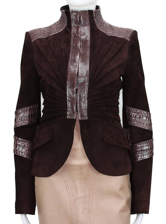 TOM FORD for GUCCI F/W 2004 PYTHON SUEDE LEATHER JACKET IT.42 3