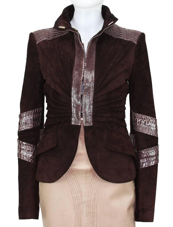 TOM FORD for GUCCI F/W 2004 PYTHON SUEDE LEATHER JACKET IT.42 6