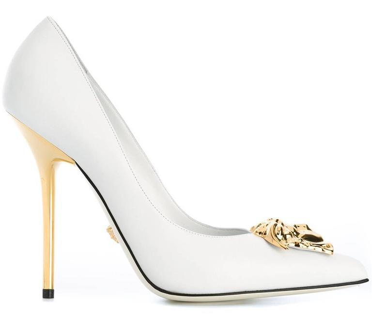 New Versace White Leather Medusa Pumps Heels It 38 5 At