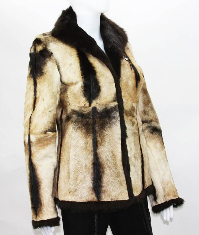 New Tom Ford for Gucci 1999 Collection Reversible Beige Fur Jacket It. 40 2