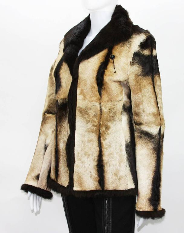 New Tom Ford for Gucci 1999 Collection Reversible Beige Fur Jacket It. 40 3