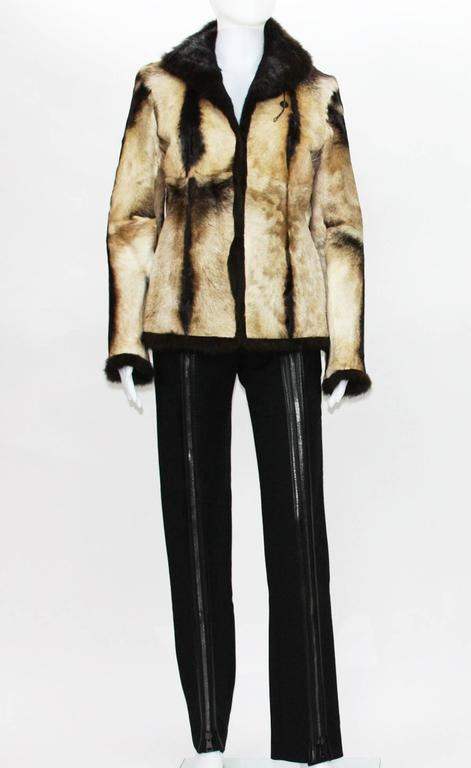 New Tom Ford for Gucci 1999 Collection Reversible Beige Fur Jacket It. 40 7