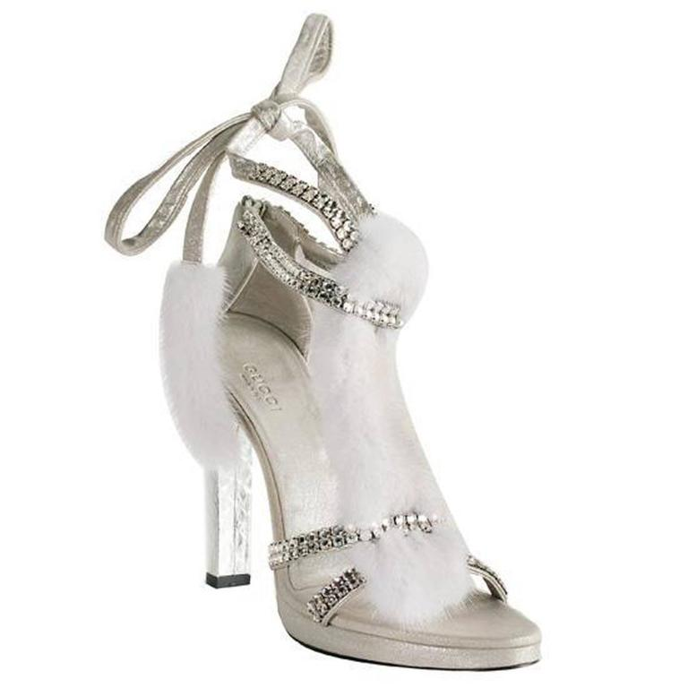 f542711403b ... Snake White Mink Leather Crystal Platform Shoes 37.5 For Sale. Tom Ford  for Gucci Silver-Tone Fur Mink Sandals F W 2004 Collection Italian