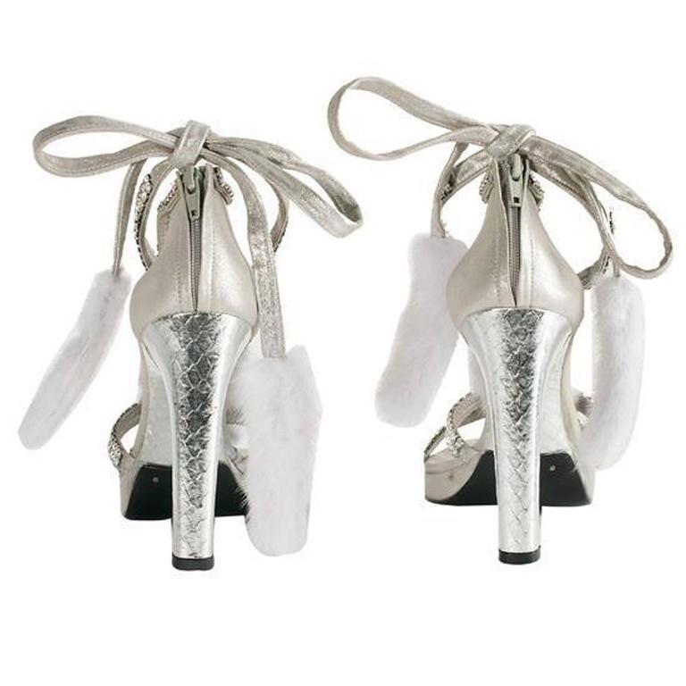 8733eb7f1d3 Gray Tom Ford for Gucci Silver Snake White Mink Leather Crystal Platform  Shoes 37.5 For Sale