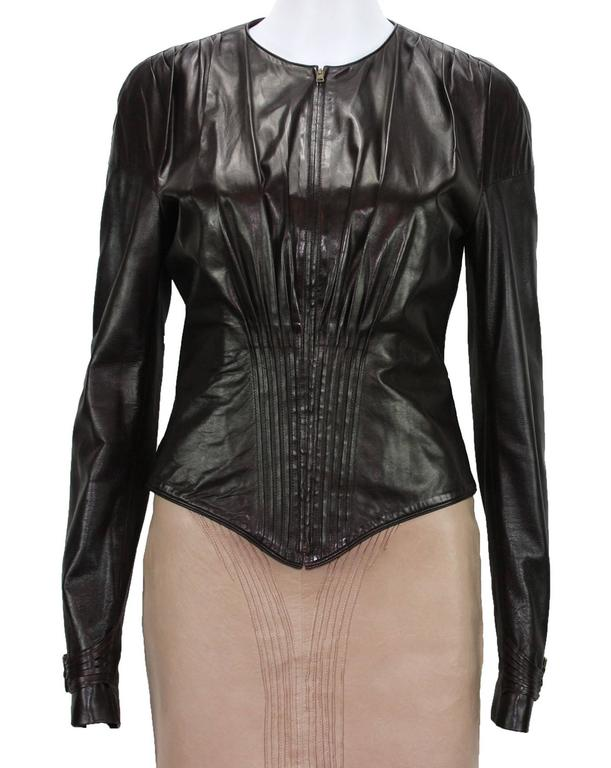 TOM FORD for GUCCI Leather Jacket  F/W  2003 Collection  Italian Size 40 – US 4  100% Genuine Leather  Color – Brown  Pleated Details  Long Sleeves with Tab Brass Slide Buckle  Front Zip Closure  Fully Lined – 100% Super Soft Leather  Measurements