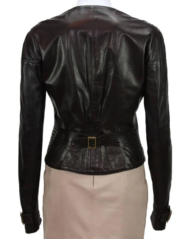 Black TOM FORD for GUCCI F/W 2003 Brown Super Soft Leather Jacket It 40 - US 4 For Sale