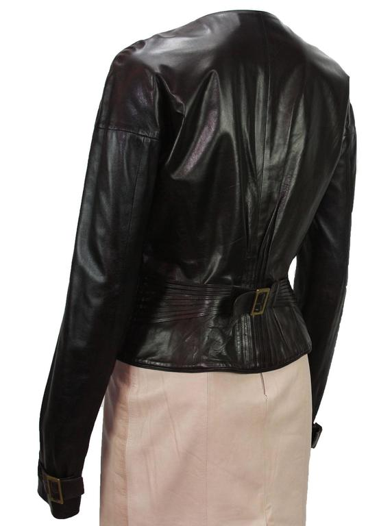 TOM FORD for GUCCI F/W 2003 Brown Super Soft Leather Jacket It 40 - US 4 In Excellent Condition For Sale In Montgomery, TX