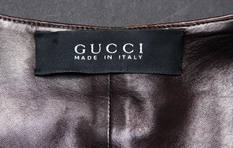 TOM FORD for GUCCI F/W 2003 Brown Super Soft Leather Jacket It 40 - US 4 For Sale 1