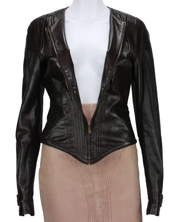 TOM FORD for GUCCI F/W 2003 Brown Super Soft Leather Jacket It 40 - US 4 For Sale 4