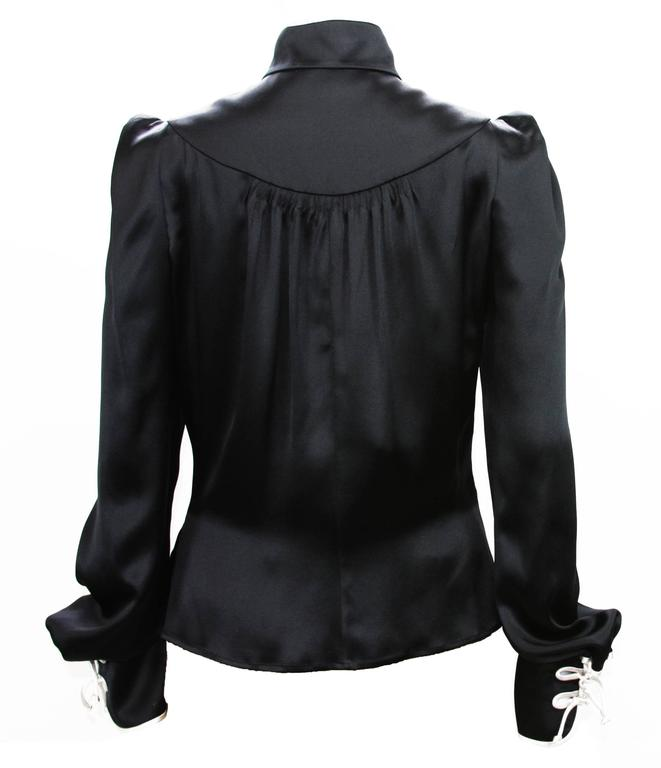 Rare Tom Ford for Yves Saint Laurent F/W 2004 Chinese Inspired Blouse Fr.38 In Excellent Condition For Sale In Montgomery, TX