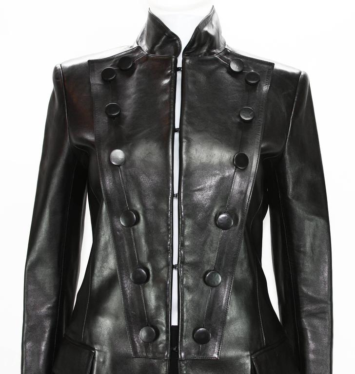 Tom Ford for Yves Saint Laurent F/W 2001 Leather Military Jacket Fr.38 2
